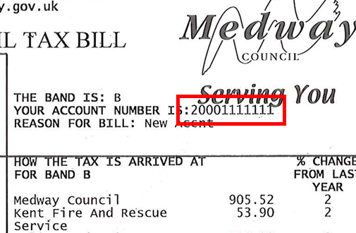 Image showing how to located the account number on your bill